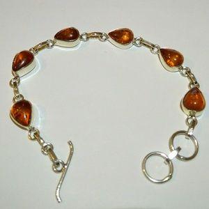 Baltic Amber Gemstone Handmade 925 Silver Bracelet